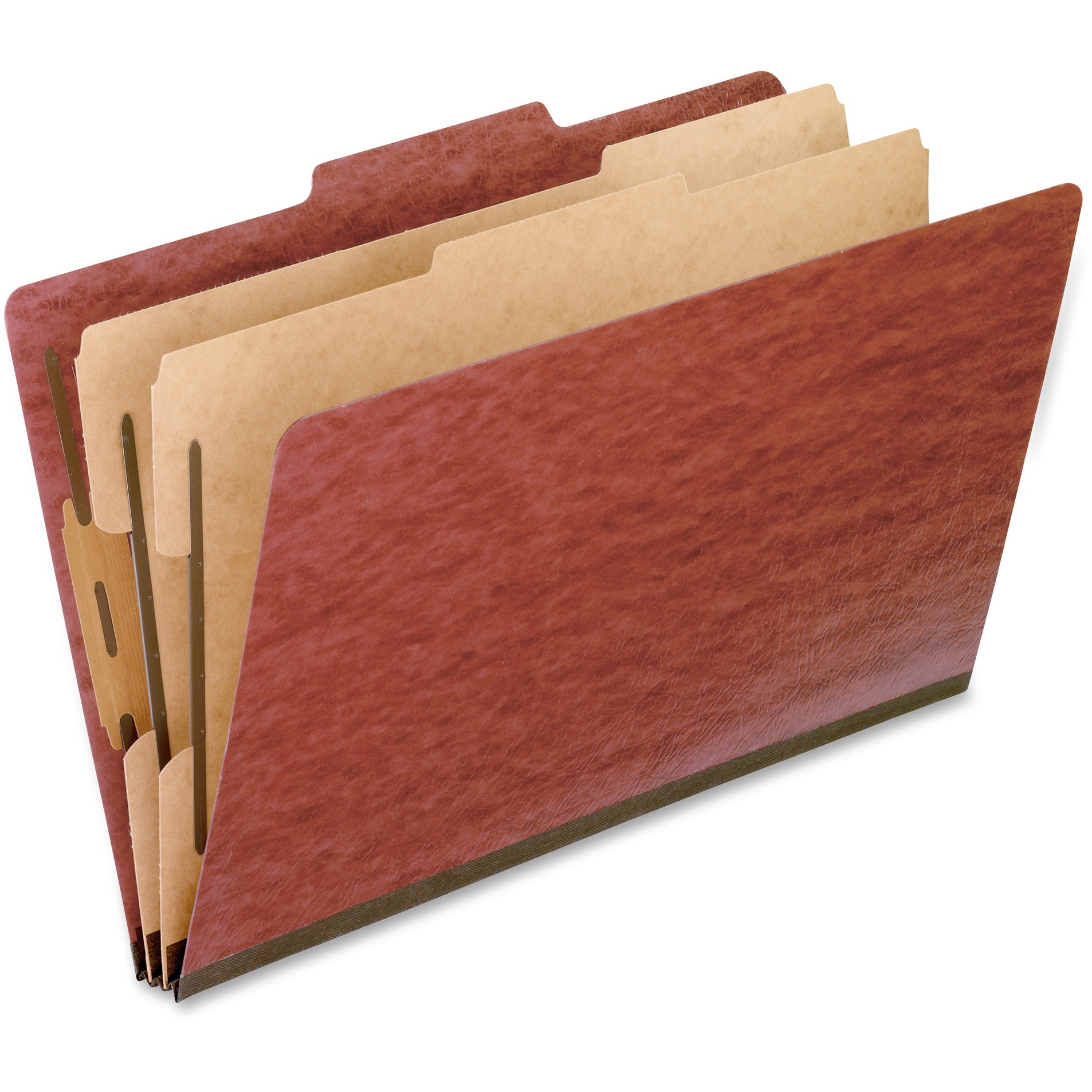 Six-Section Pressboard Folders, Legal, 2/5 Tab, Red, 10/Box