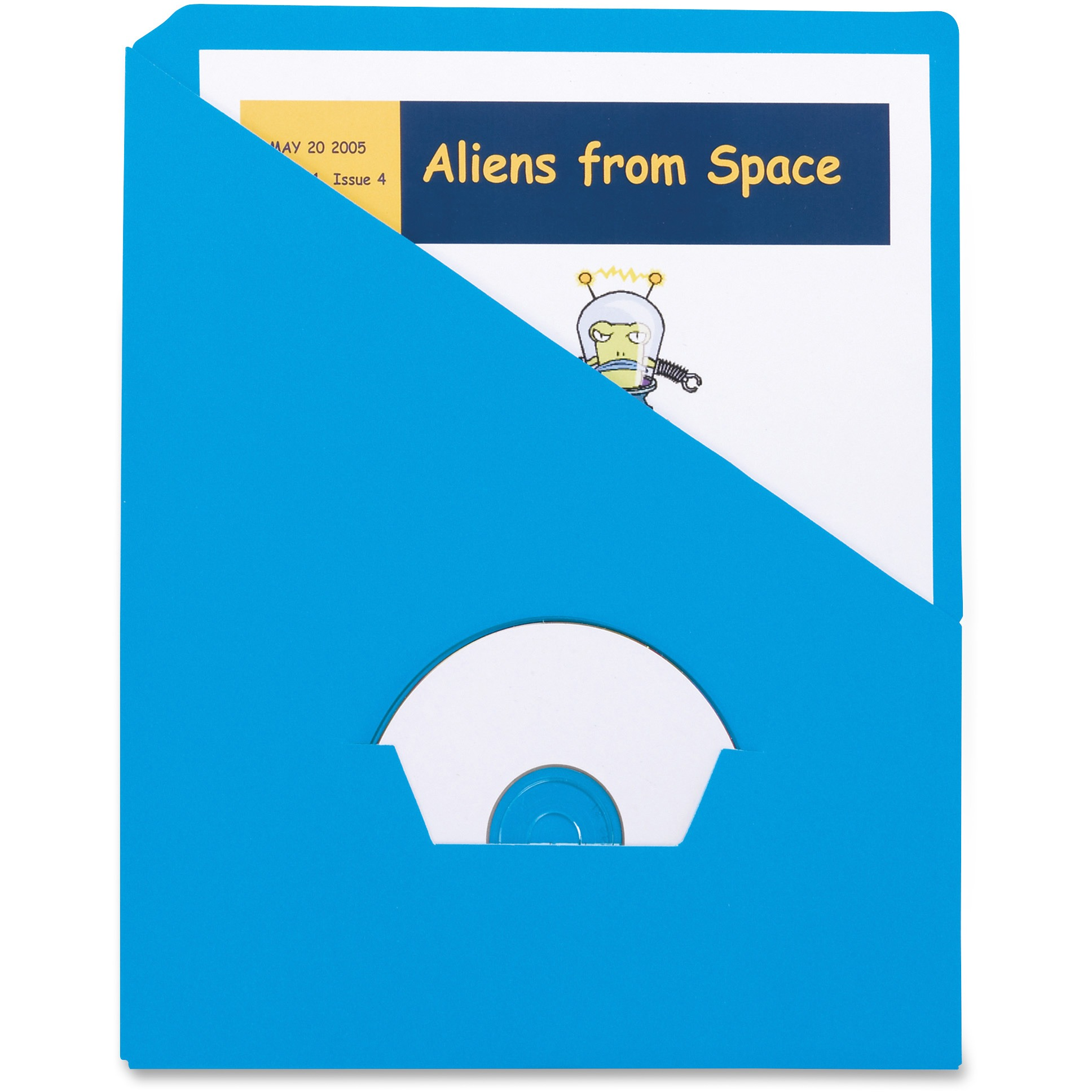 Essentials Slash Pocket Project Folders, 3 Holes, Letter, Blue, 25/Pack
