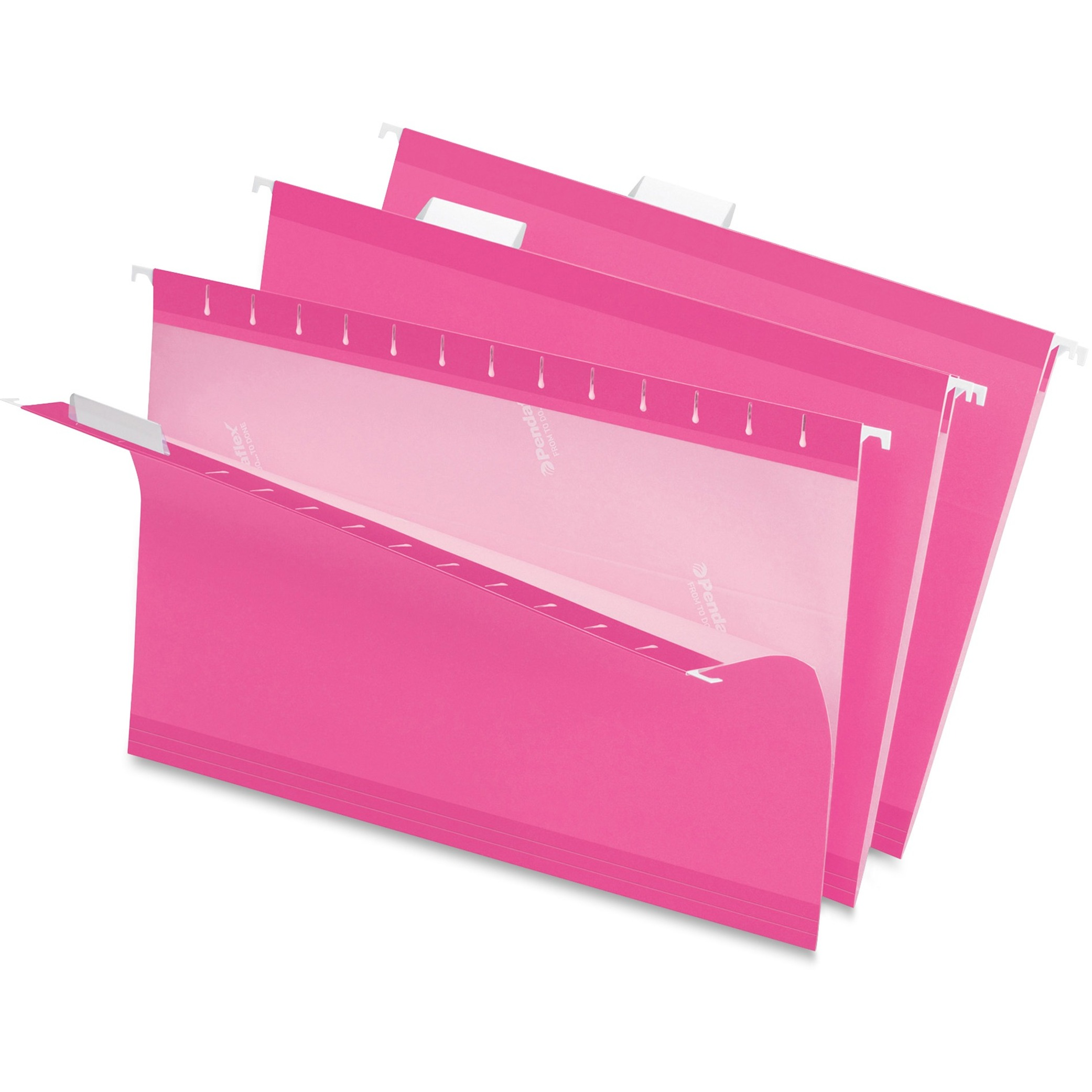 Reinforced Hanging Folders, 1/5 Tab, Legal, Pink, 25/Box