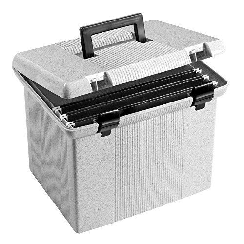 Portafile File Storage Box, Letter, Plastic, 13 7/8 x 14 x 11 1/8, Granite