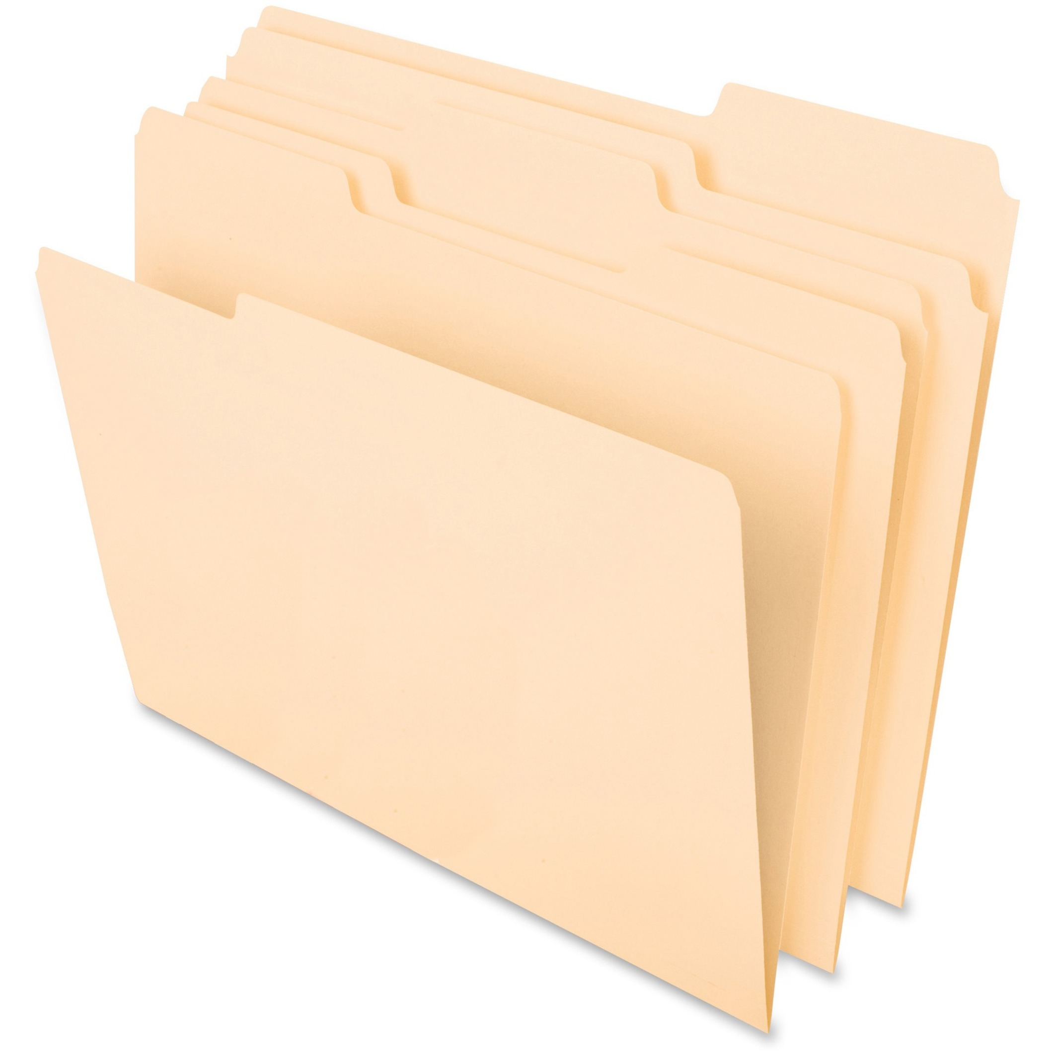 CutLess File Folders, 1/3 Cut Top Tab, Letter, Manila, 100/Box