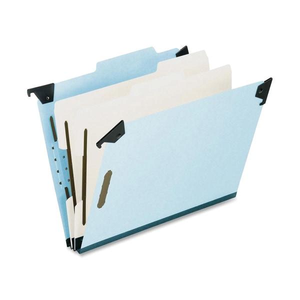 Pressboard Hanging Classi-Folder, 2 Divider/6-Sections, Letter, 2/5 Tab, Blue