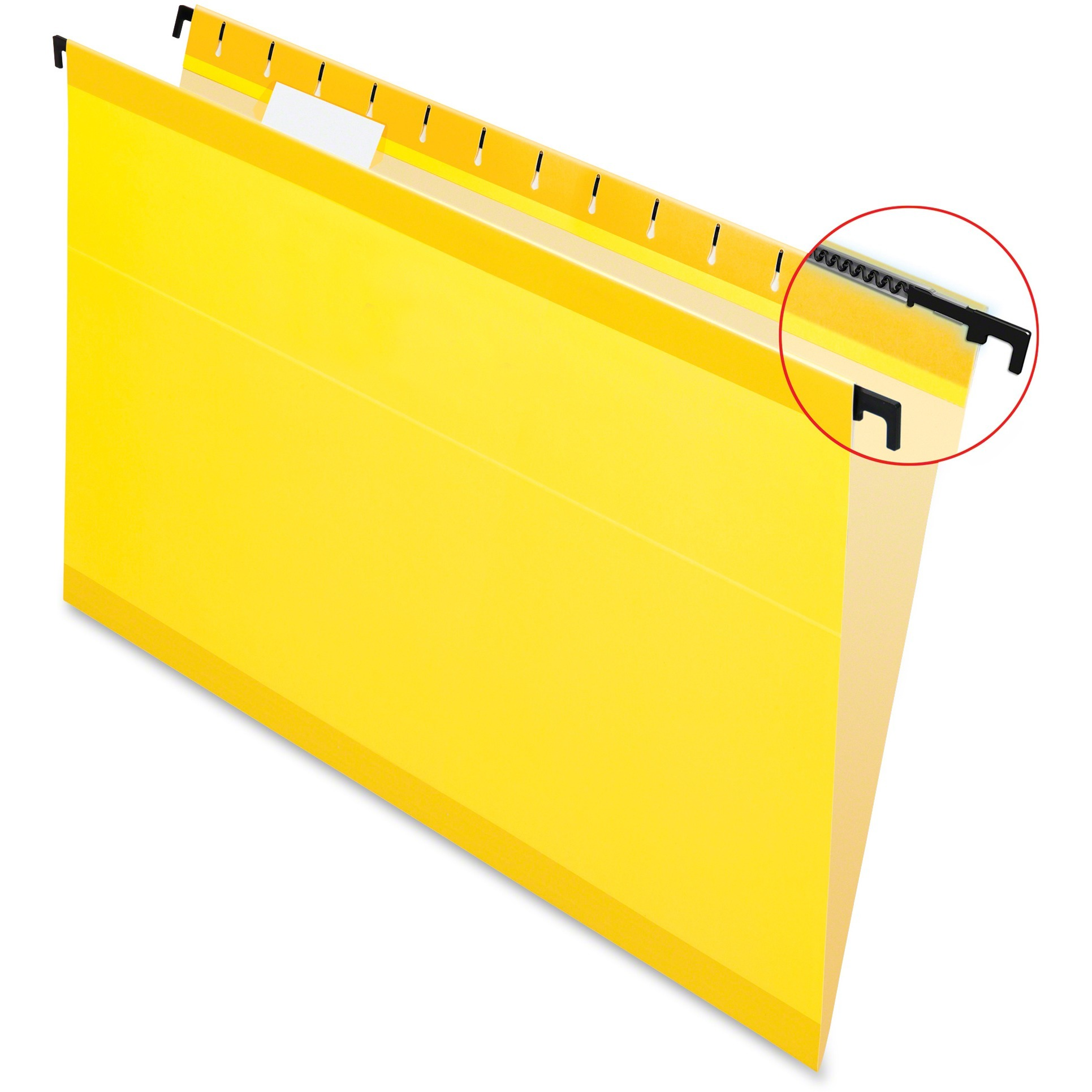 Poly Laminate Hanging Folders, Legal, 1/5 Tab, Yellow, 20/Box