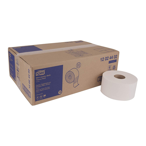 "Advanced Mini-Jumbo Roll Bath Tissue, Septic Safe, 2-Ply, White, 3.48"" x 751 ft, 12 Rolls/Carton"