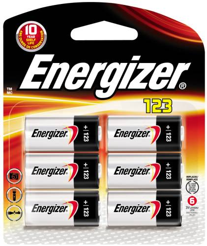 ENERGIZER BATTERY 3V LITHIUM 123, 6 PACK