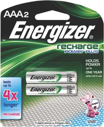 ENERGIZER BATTERY AAA NIMH RECHARGEABLE, 2 PACK