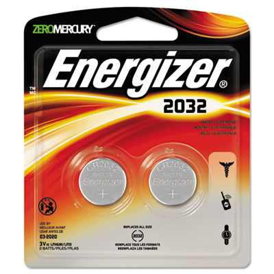 Watch/Electronic/Specialty Battery, 2032, 3V, 2/Pack