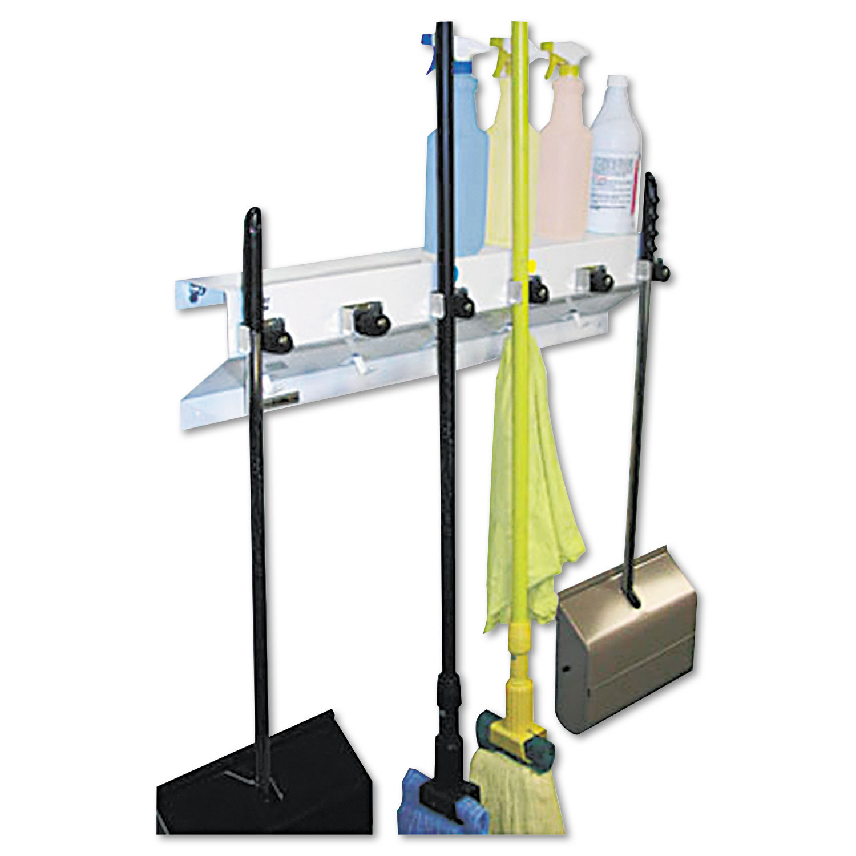 "The Clincher Mop & Broom Holder, 34""w x 5 1/2""d x 7 1/2""h, White Gloss, Each"