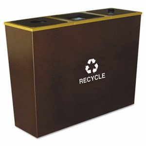 Metro Collection Recycling Receptacle, Triple Stream, Steel, 54gal, Brown