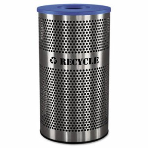 Stainless Steel Recycle Receptacle, 33gal, Stainless Steel