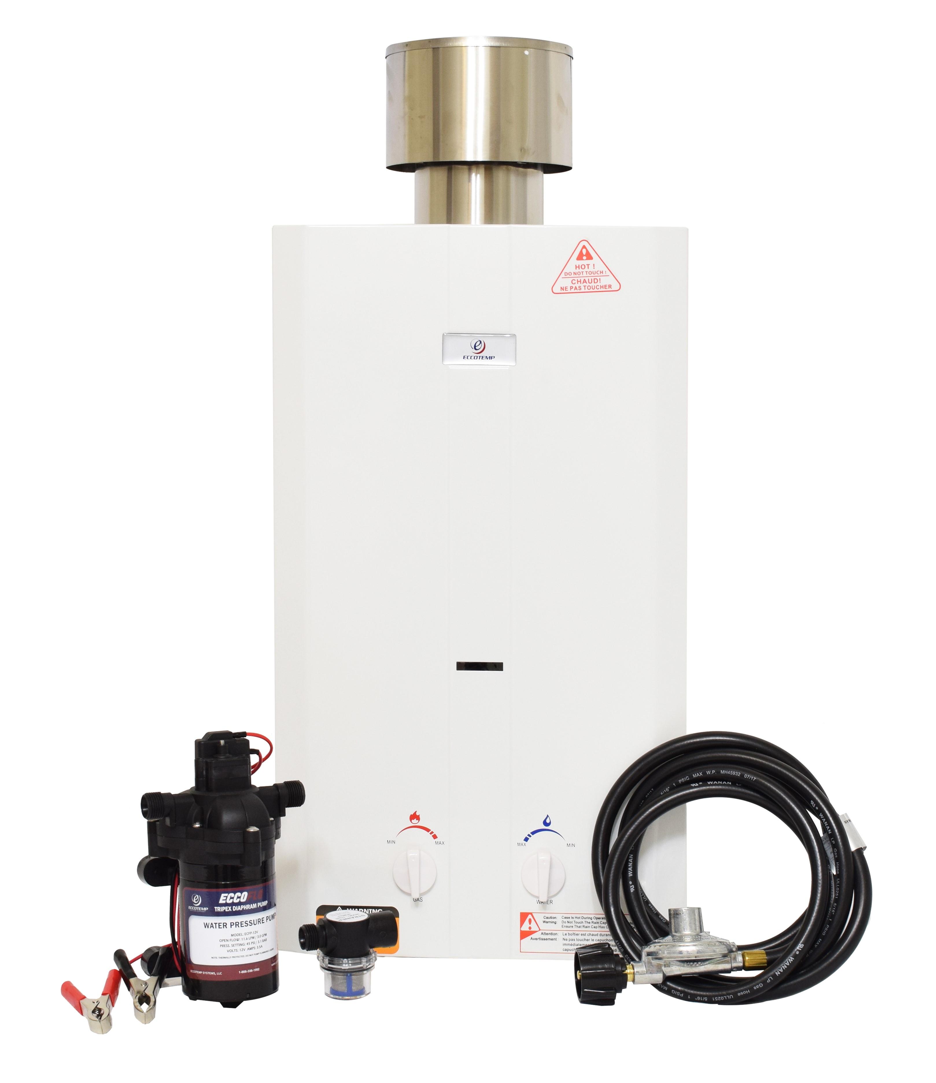 Eccotemp L10 Portable Outdoor Water Heater w/ EccoFlo Diaphragm 12V Pump & Strainer