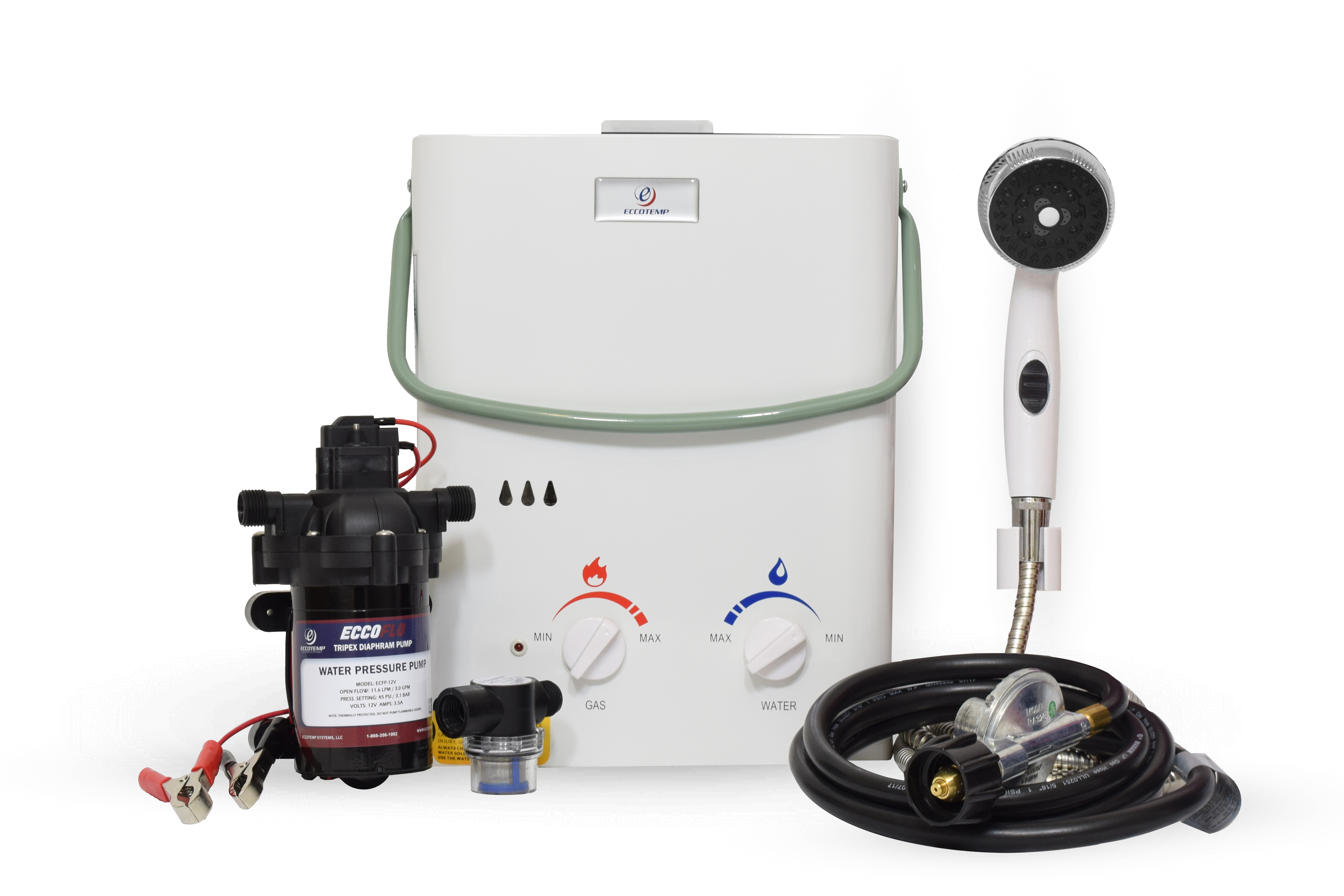 Eccotemp L5 Portable Outdoor Tankless Water Heater w/ EccoFlo Diaphragm 12V Pump & Strainer