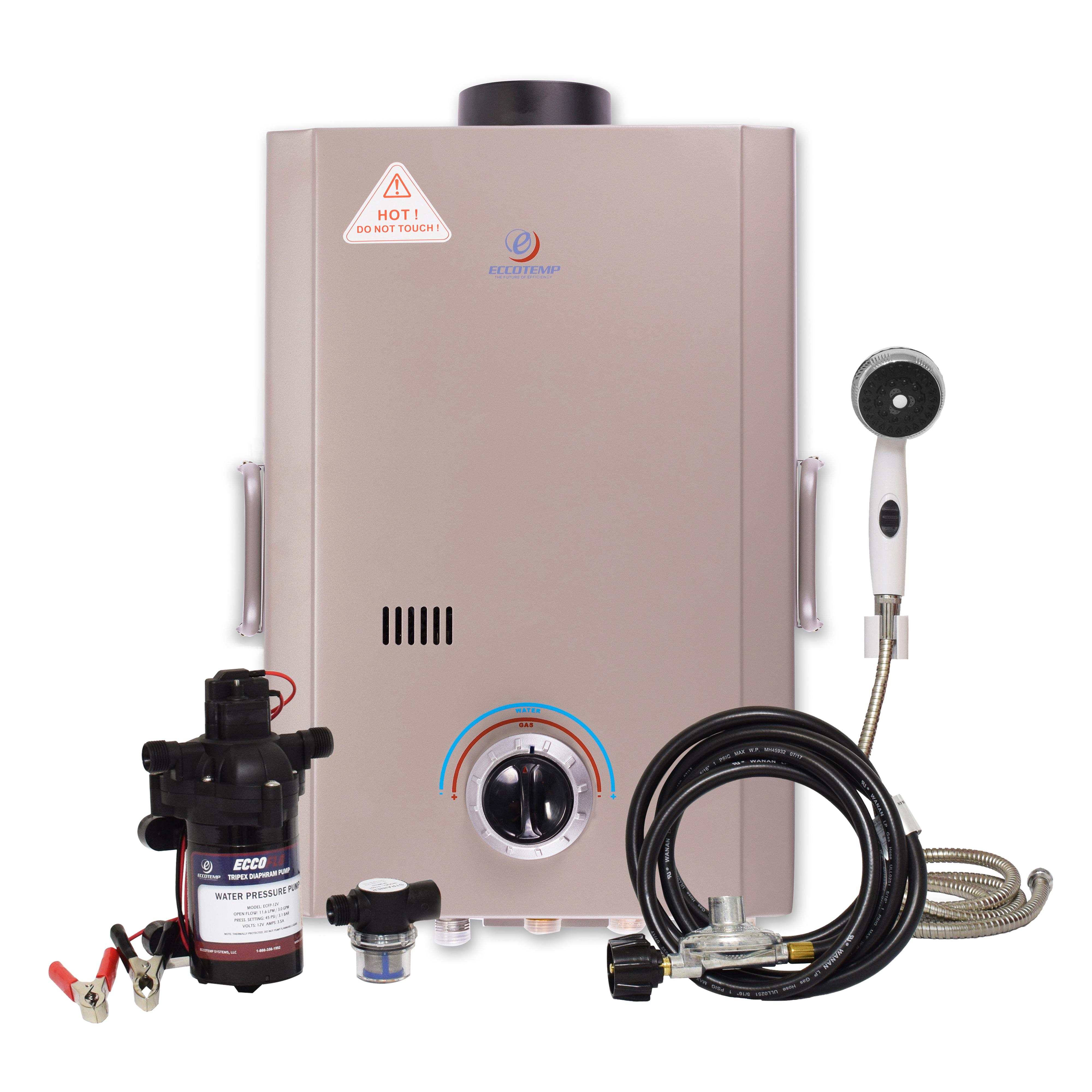 Eccotemp L7 Portable Outdoor Tankless Water Heater w/ EccoFlo Diaphragm 12V Pump & Strainer