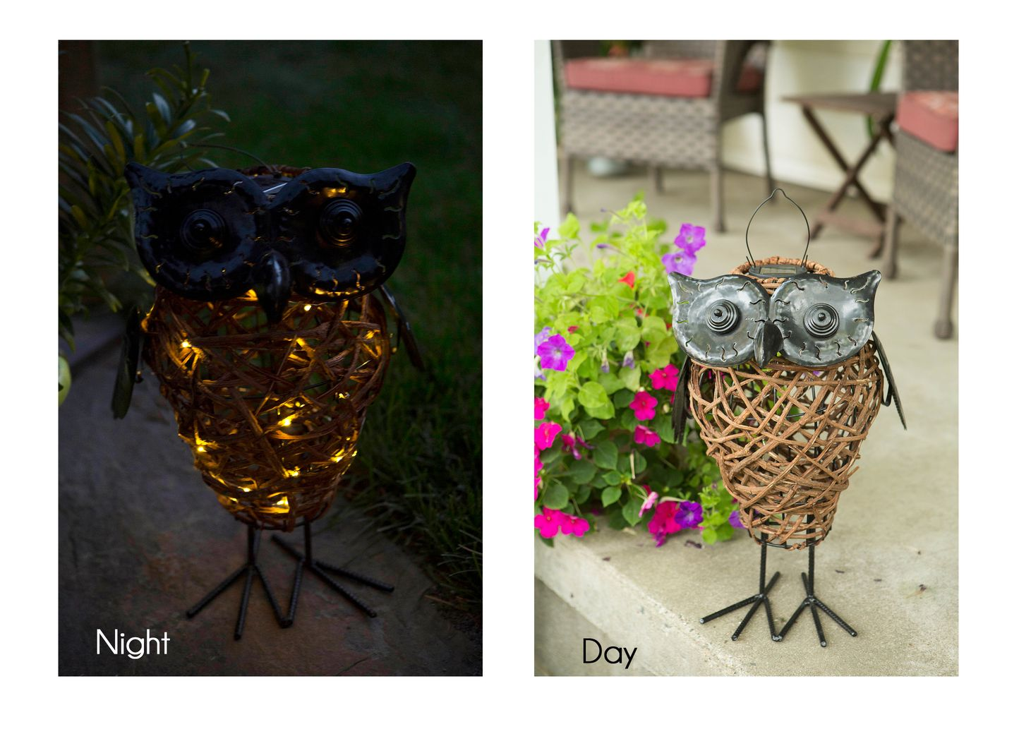 Rattan Solar Owl Lantern with String Lights