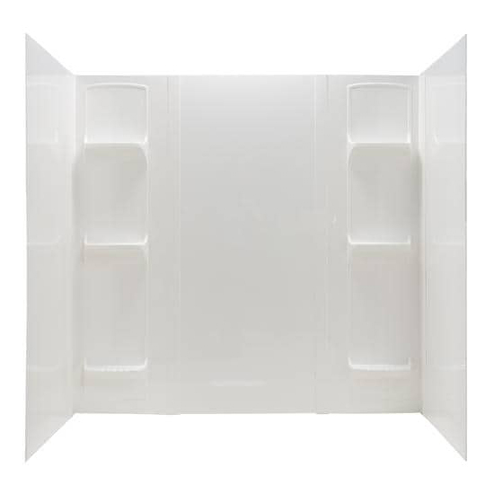 DURAWALL� THERMOPLASTIC BATHTUB WALL KIT, WHIRLPOOL SIZED, 5 PIECES, 6 SHELVES, WHITE, 42 X 72 IN.