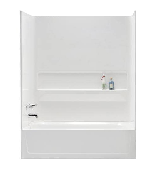 TOPAZ� FIBERGLASS BATHTUB WALL KIT, DIRECT-TO-STUD MOUNT, 3 PIECES, 1 SHELF, WHITE, 30 X 60 IN.