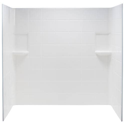 TOPAZ� FIBERGLASS TILE PATTERN BATHTUB WALL KIT, DIRECT-TO-STUD MOUNT, 3 PIECES, 2 SHELVES, WHITE, 30 X 60 IN.