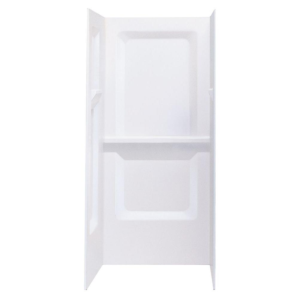 DURAWALL� FIBERGLASS SHOWER WALL KIT, 3 PIECES, 3 SHELVES, WHITE, 32 X 32 IN.