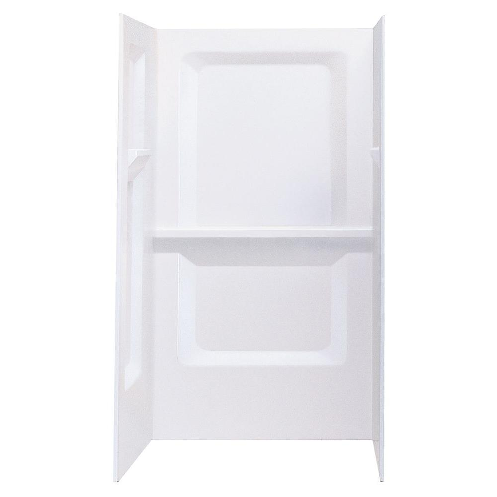DURAWALL� FIBERGLASS SHOWER WALL KIT, 3 PIECES, 3 SHELVES, WHITE, 36 X 36 IN.