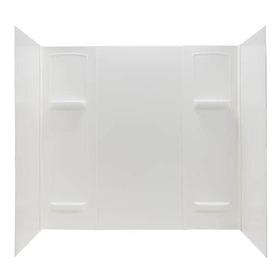 DURAWALL� THERMOPLASTIC BATHTUB WALL KIT, 5 PIECES, 4 SHELVES, WHITE, 30 X 60 IN.