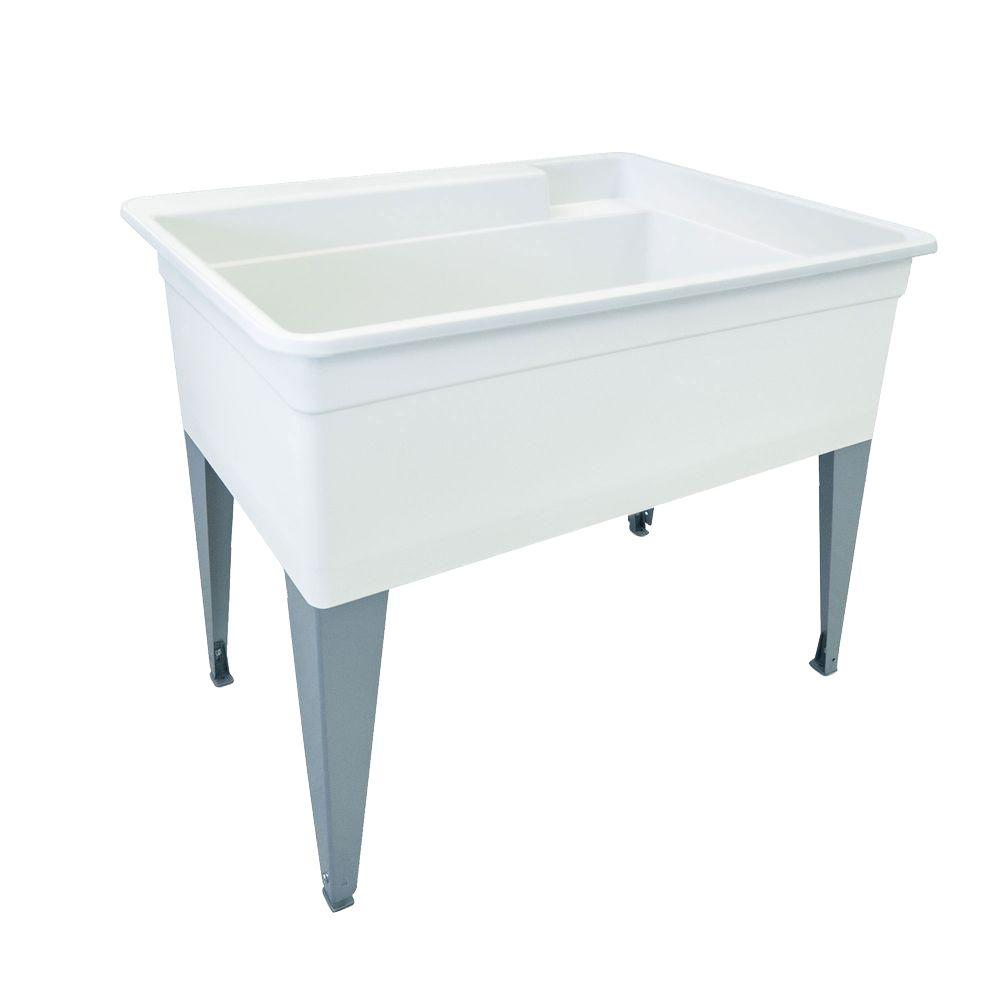 BIGTUB� UTILATUB� 36-GALLON FLOOR-MOUNT UTILITY TUB, 34 X 40 X 24 IN., WHITE