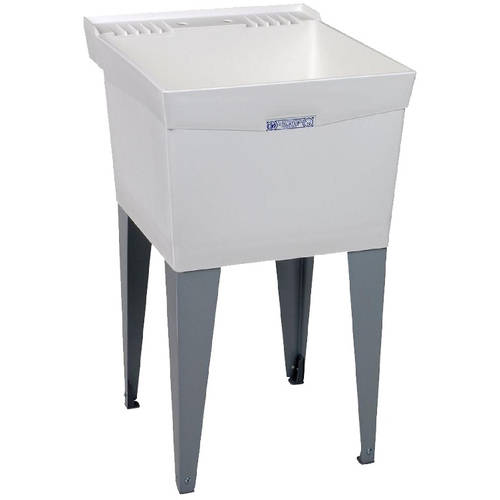 UTILATUB� 18-GALLON FLOOR-MOUNT LAUNDRY/UTILITY TUB, COMPRESSION MOLDED FIBERGLASS, 34 X 20 X 24 IN., WHITE