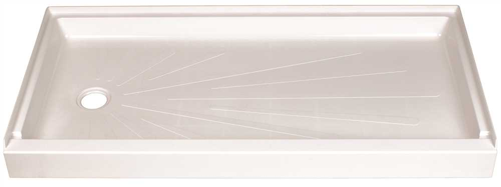 DURABASE� FIBERGLASS RECTANGULAR SHOWER FLOOR, LEFT HAND DRAIN LOCATION, WHITE, 30 X 60 IN.