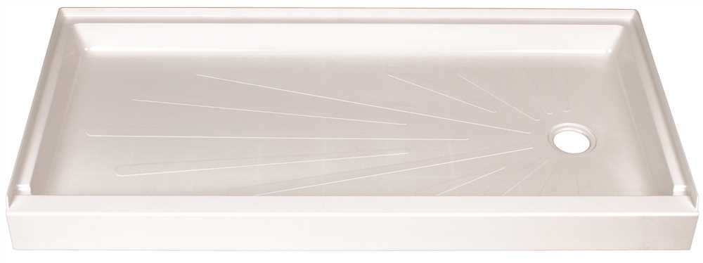 DURABASE� FIBERGLASS RECTANGULAR SHOWER FLOOR, RIGHT HAND DRAIN LOCATION, WHITE, 30 X 60 IN.