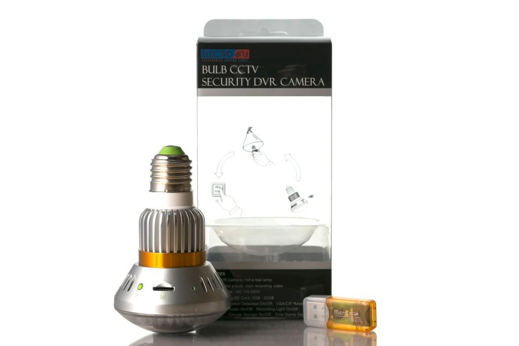 MicroSD Dummy Bulb Motion Detect Security Camera DVR for Hotel Lobby