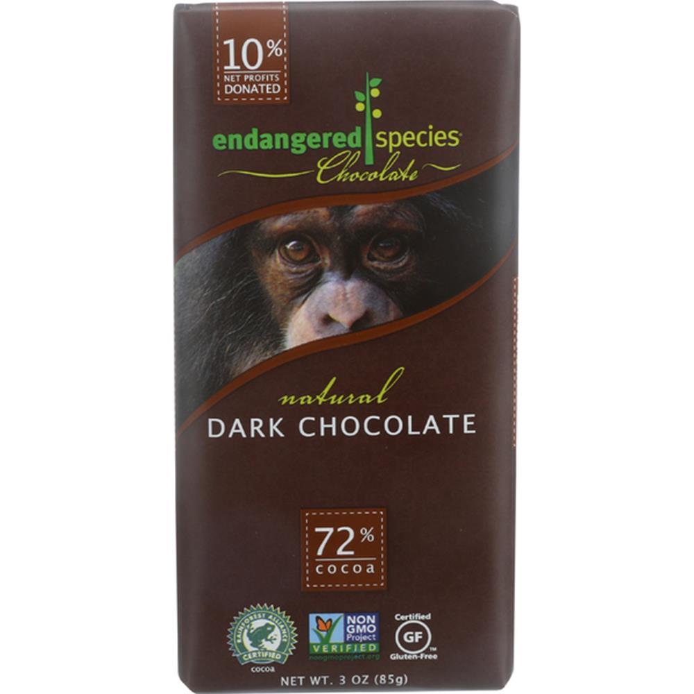 Endangered Species Chocolate - Smooth Chimp Dark Chocolate Bars ( 12 - 3 OZ)