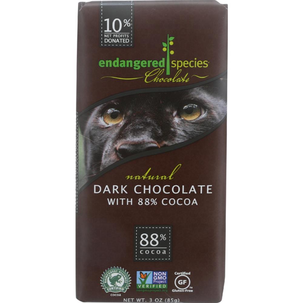 Endangered Species Chocolate - Extreme Panther Dark Chocolate Bars ( 12 - 3 OZ)