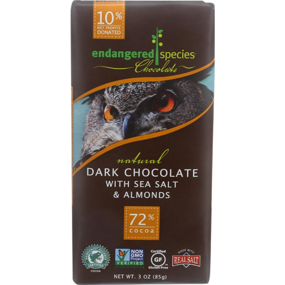 Endangered Species Chocolate - Almond & Salt Owl Dark Chocolate Bars ( 12 - 3 OZ)