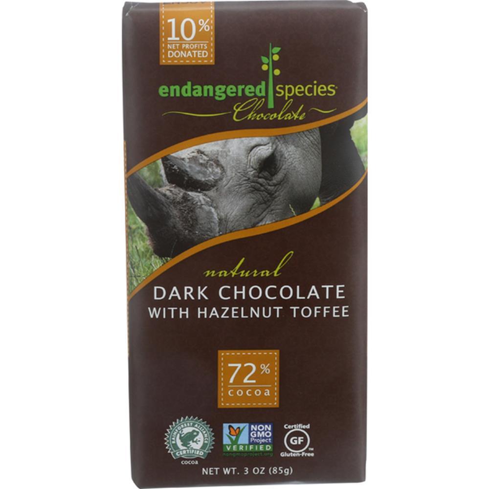 Endangered Species Chocolate - Hazelnut Rhino Dark Chocolate Bars ( 12 - 3 OZ)