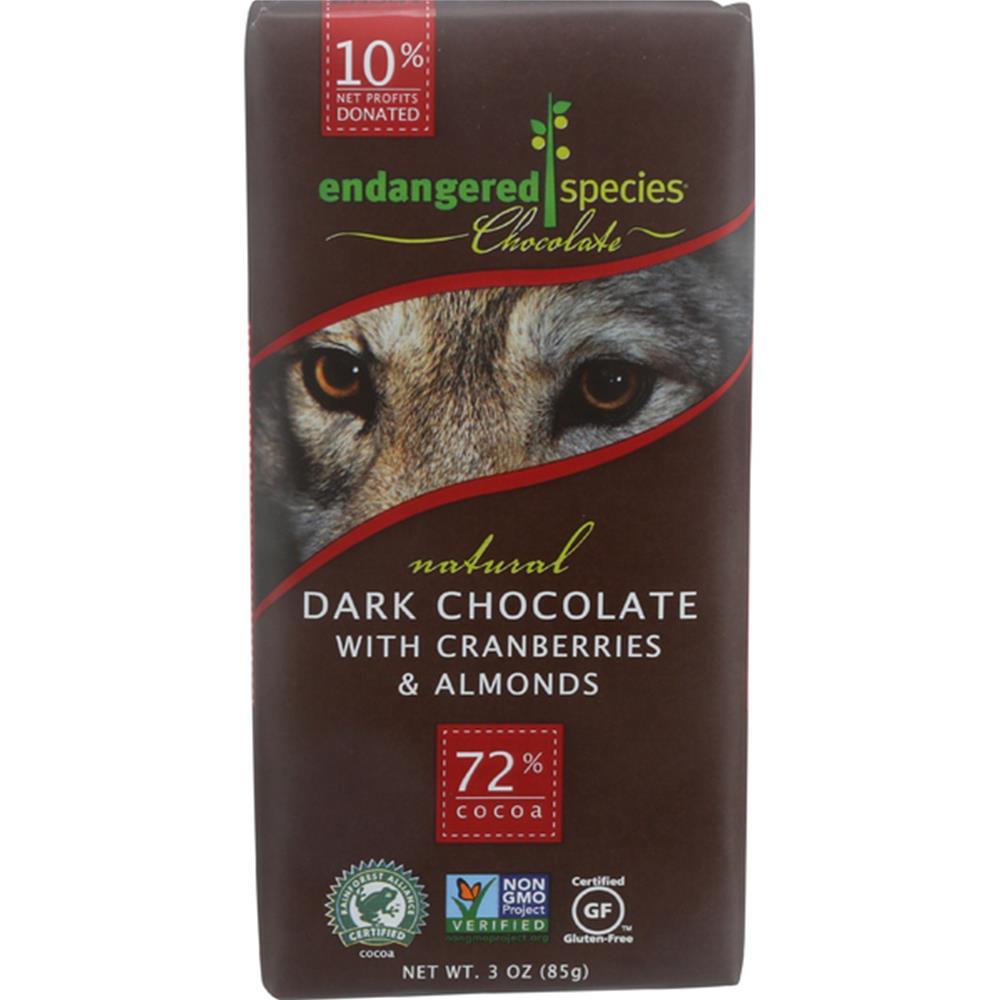 Endangered Species Chocolate - Almond Cranberries Wolf Dark Chocolate Bars ( 12 - 3 OZ)