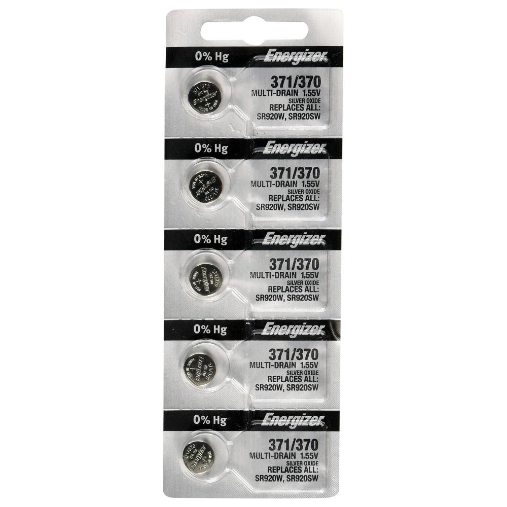 Energizer 371/370 Silver Oxide Coin Cell Battery - SR920W, Sold in increments of 5 only