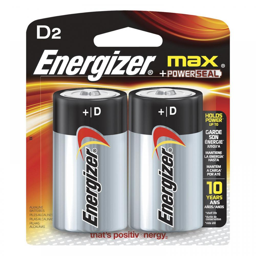 Energizer Max +PowerSeal D Alkaline Battery (2-Pack)