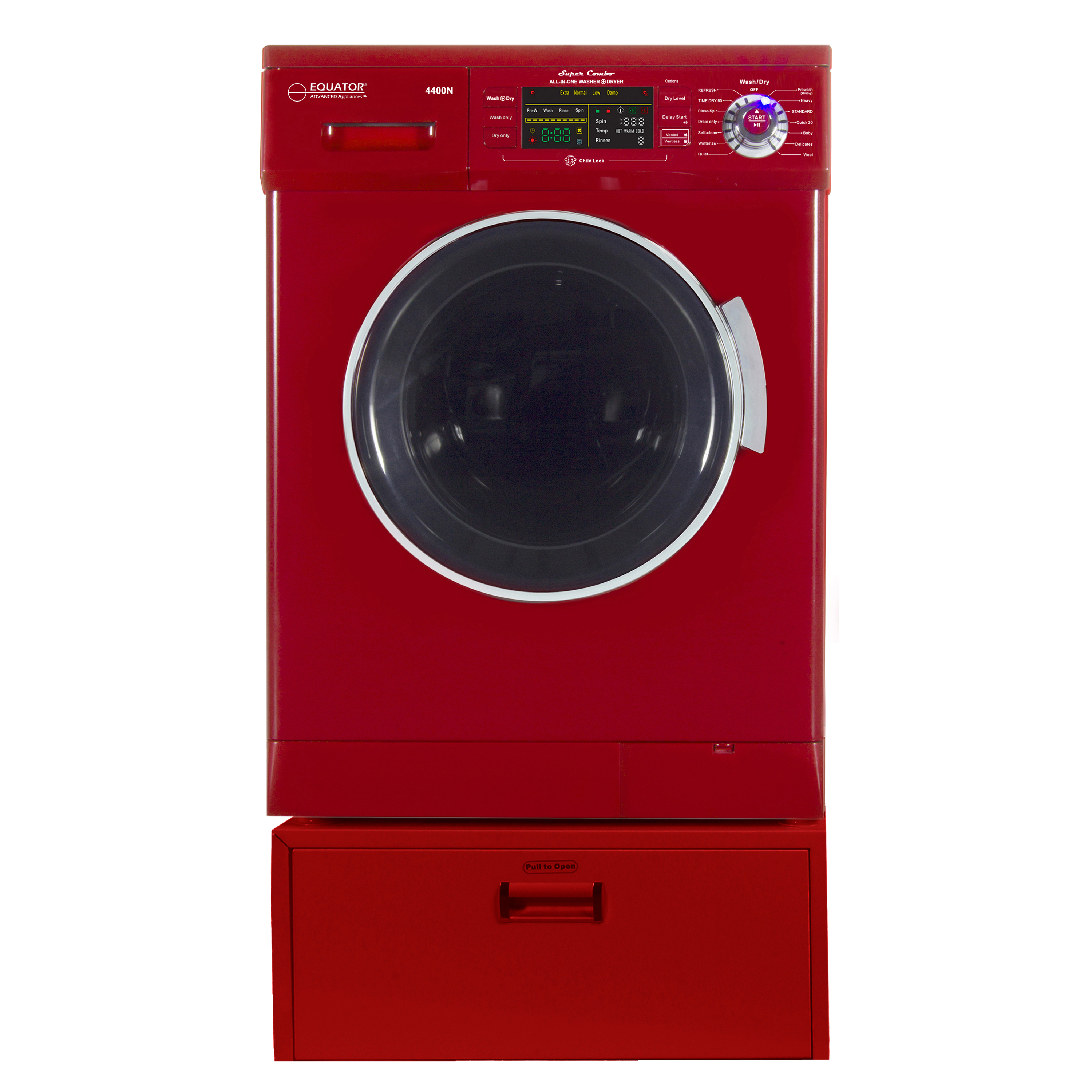 Equator EZ 4400 N Merlot All-in-one New Compact Combo Washer Dryer with Pedestal Storage Drawer
