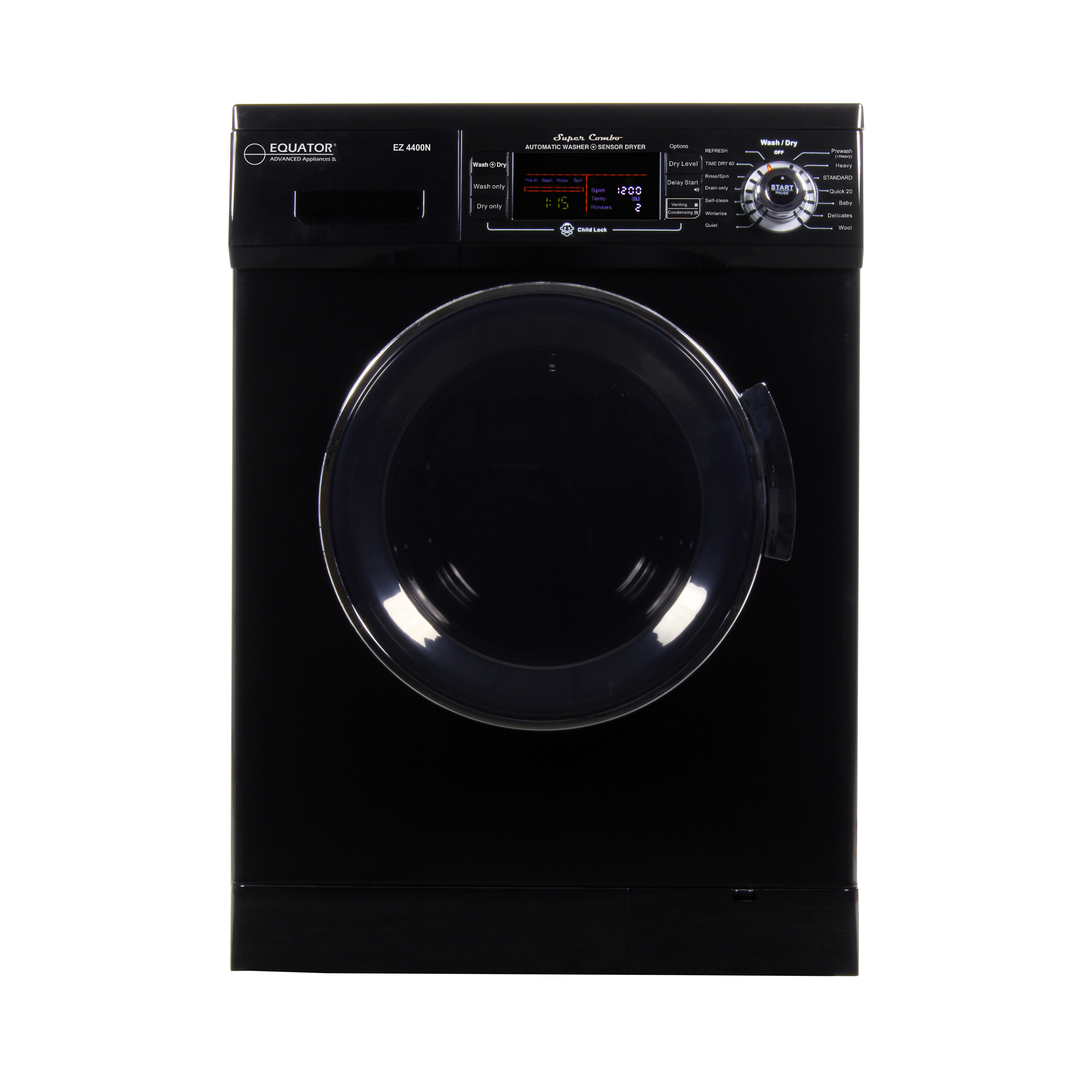 All-in-one 1200 RPM New 2019 Version Compact Convertible Combo Washer Dryer with Fully Digital Control Panel in Black