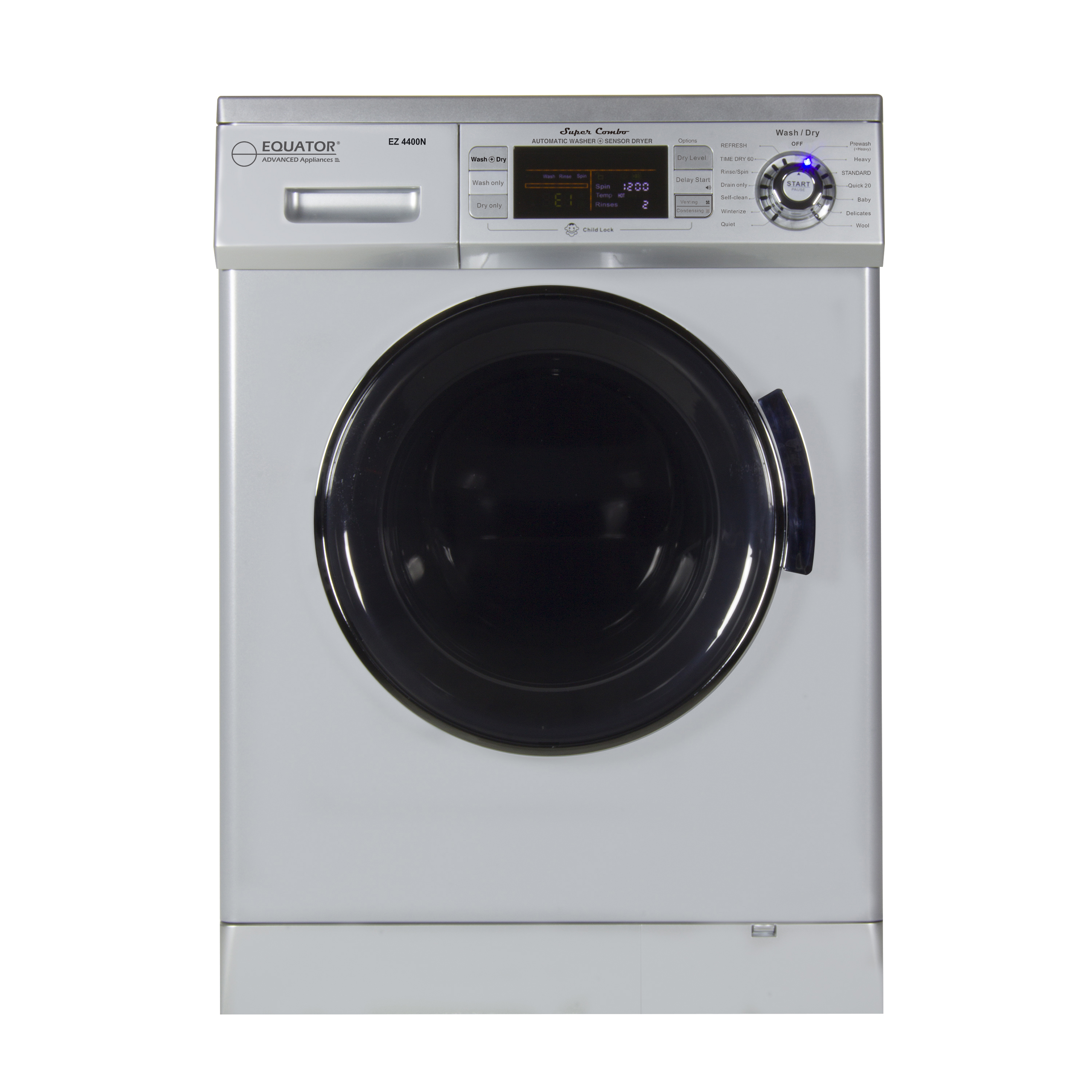All-in-one 1200 RPM New 2019 Version Compact Convertible Combo Washer Dryer with Fully Digital Control Panel in Silver