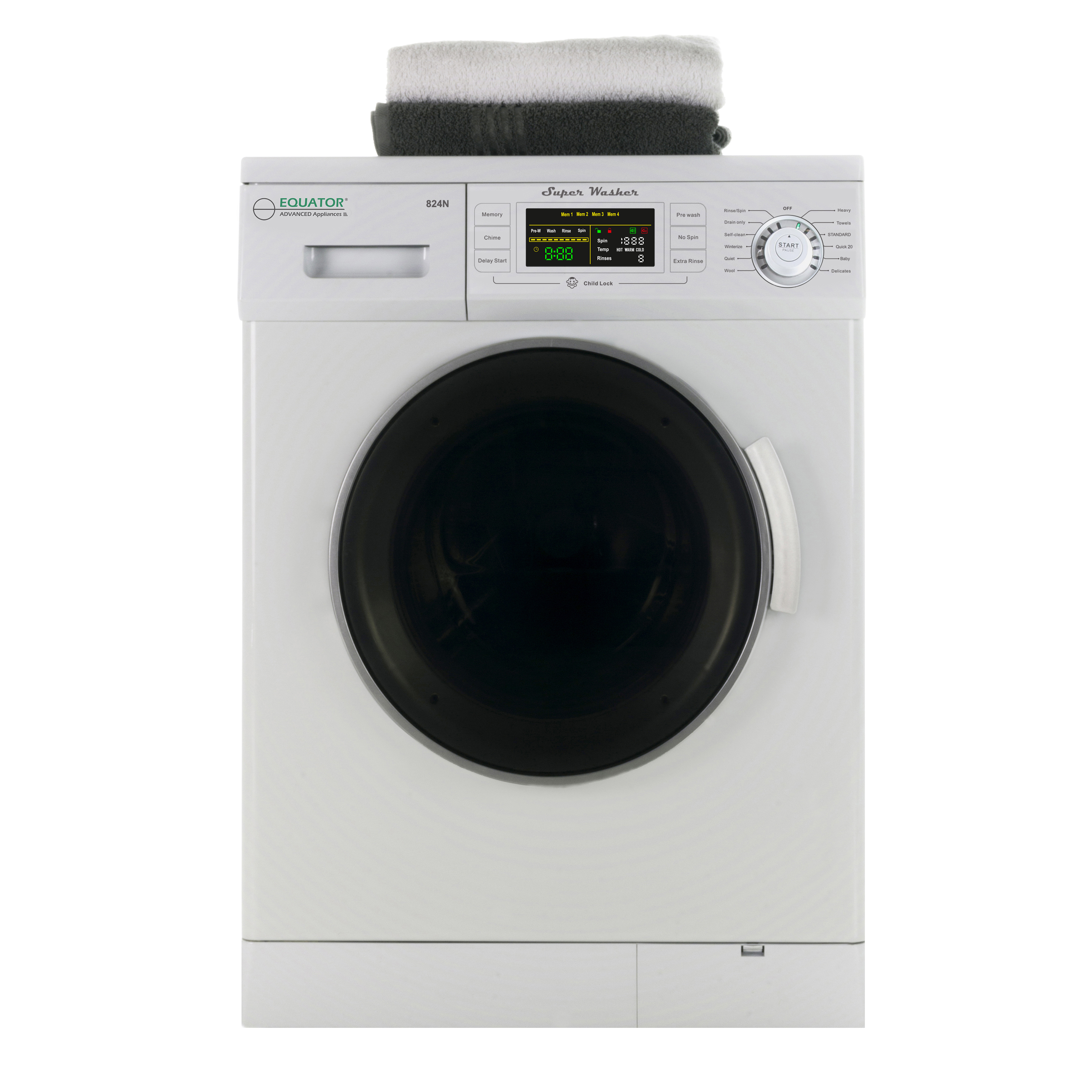 1.6 Cu. Ft. New Version Compact Front Load Washer with 1200 RPM and Automatic Water Level