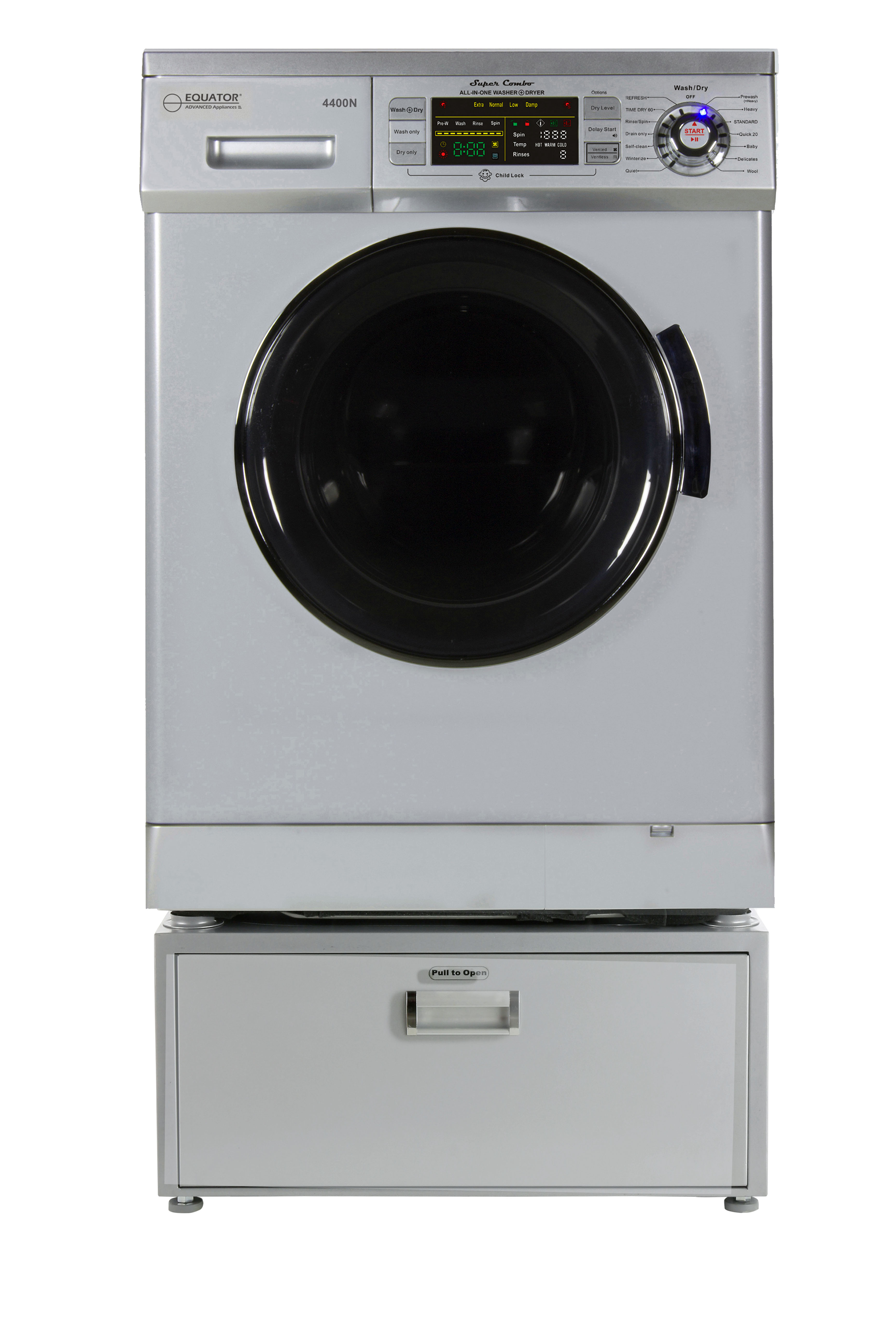 Equator EZ 4400 N Silver All-in-one New Compact Combo Washer Dryer with Pedestal Storage Drawer
