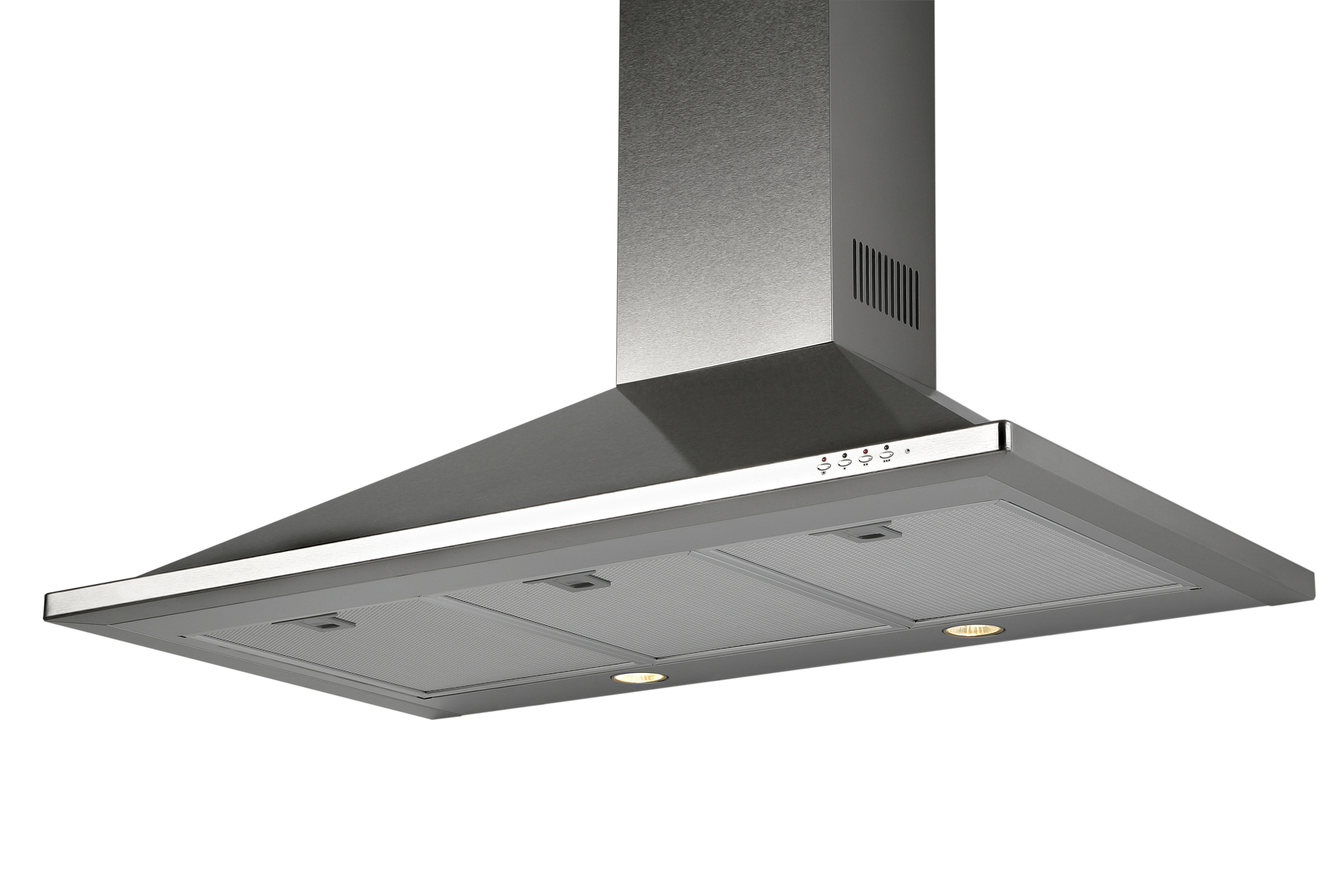 Equator TR 36 Trapezoidal Wall Mounted Rangehood with LED lights in Stainless. Made in Europe.