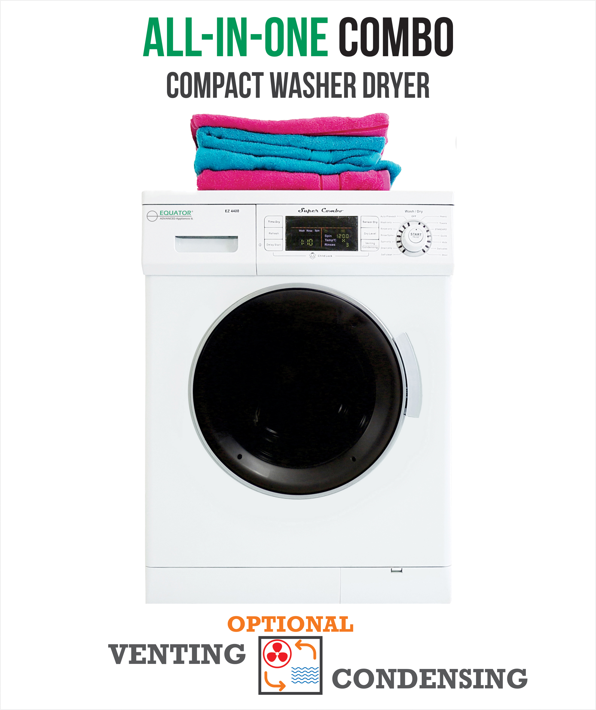 All-in-One 13 lb. 1200 RPM Compact Combo Washer Dryer with Optional Condensing/ Venting, Sensor Dry, Auto Water Level, White.