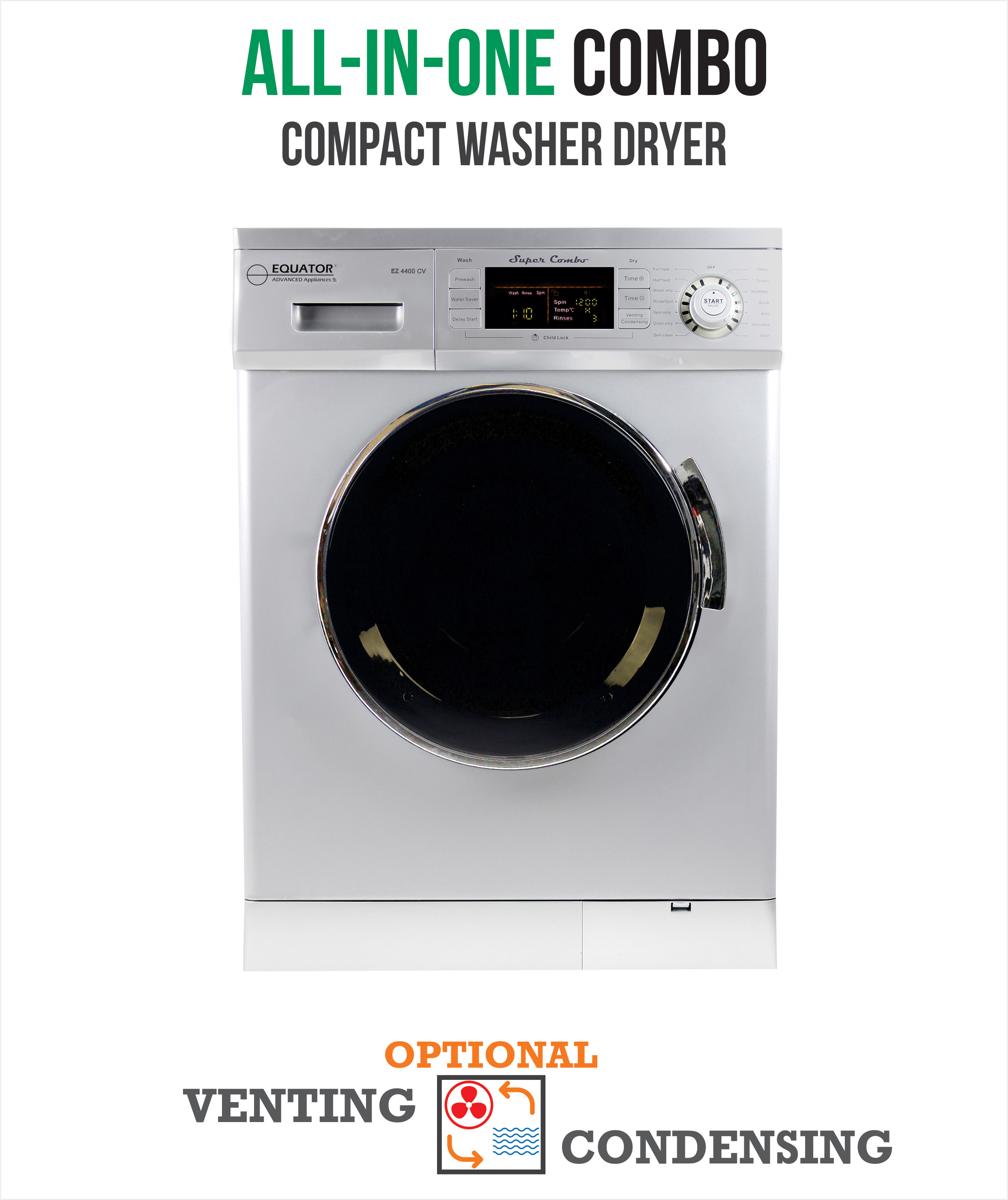 All-in-One 13 lb. 1200 RPM Compact Combo Washer Dryer with Optional Condensing/ Venting, Sensor Dry, Auto Water Level, Silver.