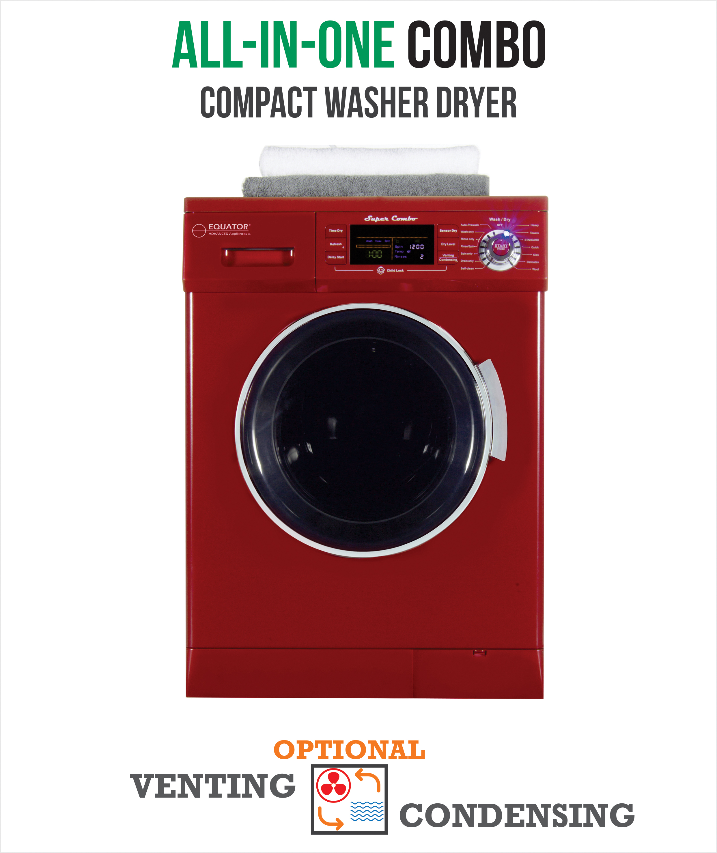 All-in-One 13 lb. 1200 RPM Compact Combo Washer Dryer with Optional Condensing/ Venting, Sensor Dry, Auto Water Level, Merlot.