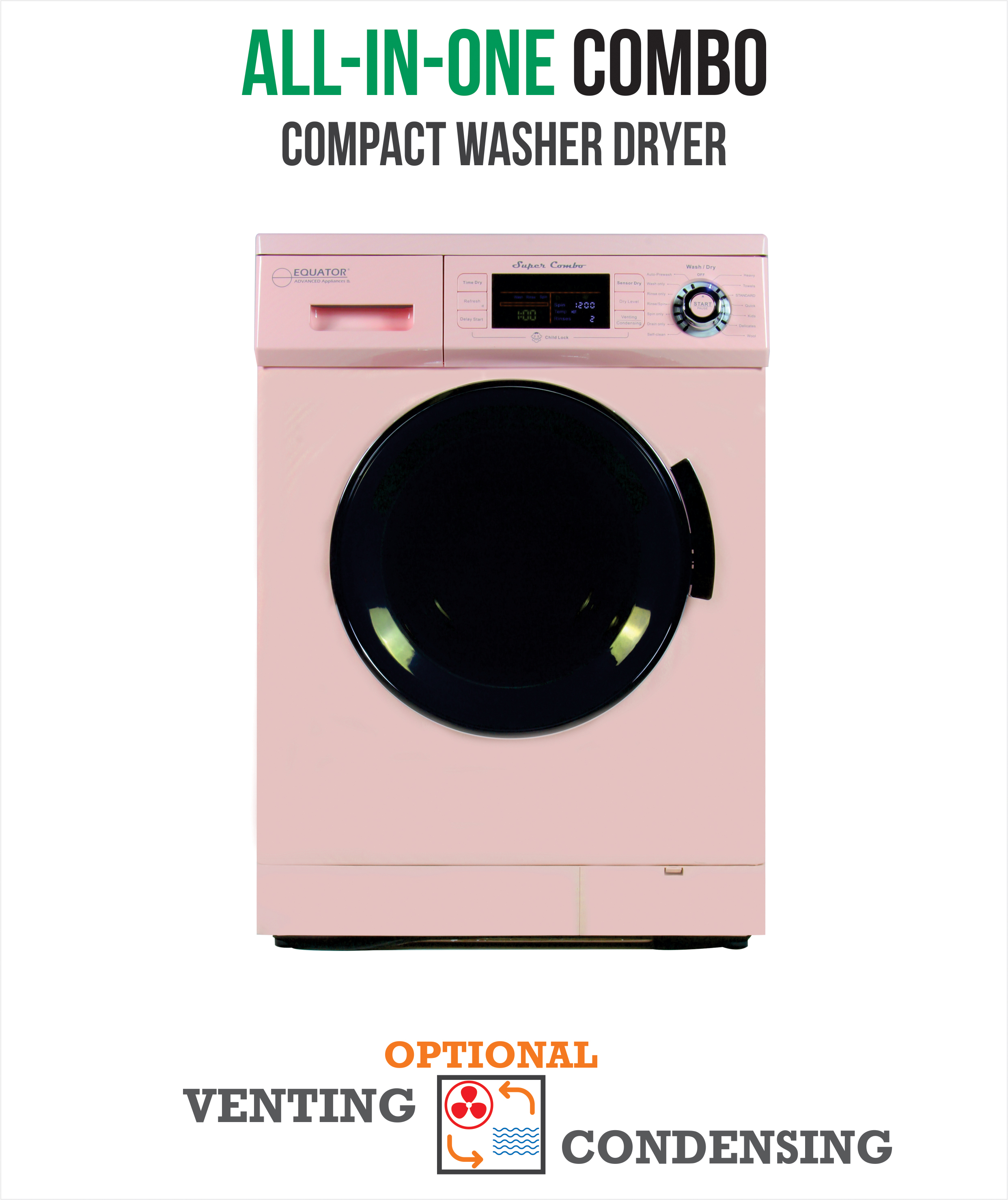 All-in-One 13 lb. 1200 RPM Compact Combo Washer Dryer with Optional Condensing/ Venting, Sensor Dry, Auto Water Level, Pink