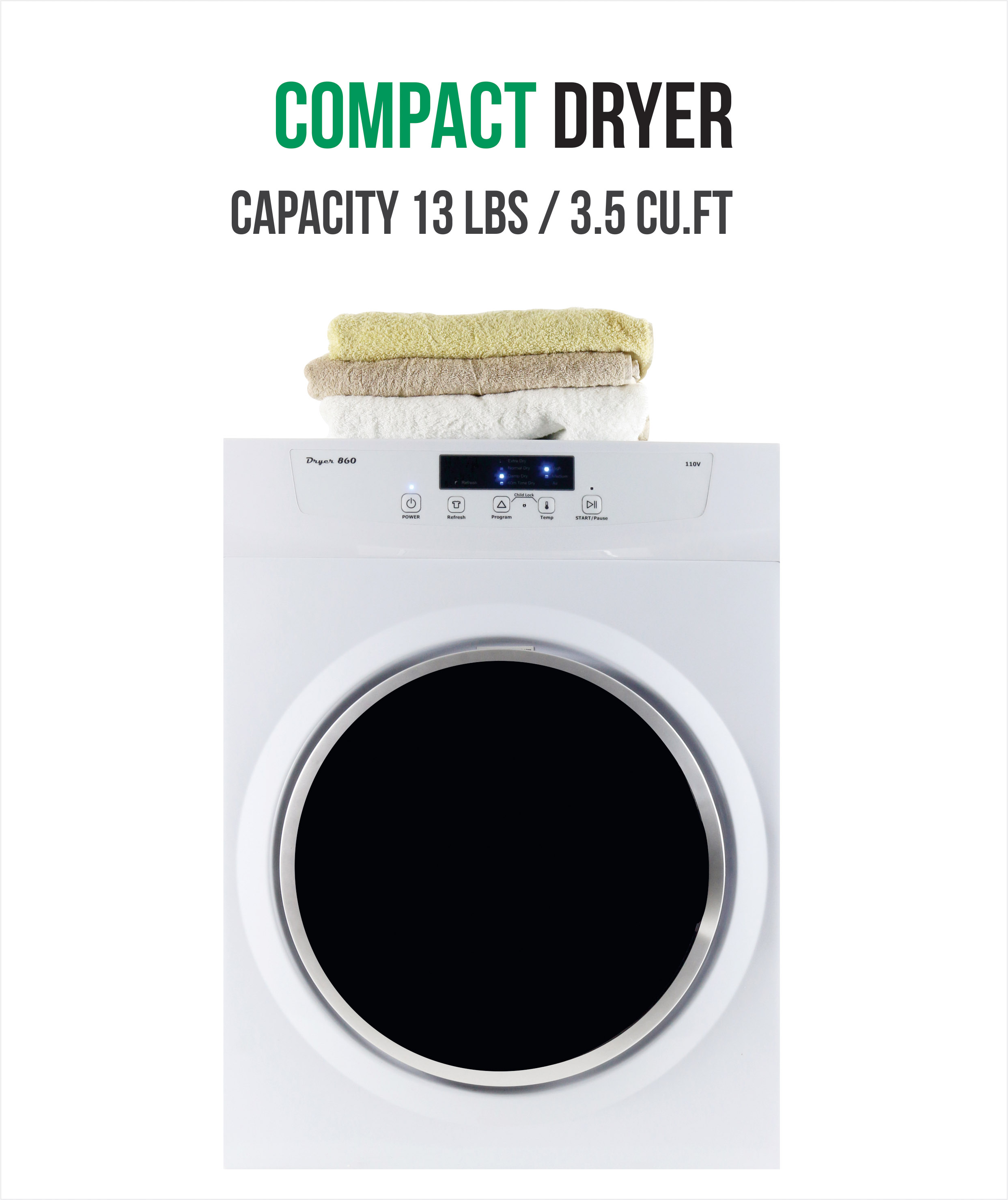 Equator Standard Dryer 110V With Sensor Dry, White With Silver Trim