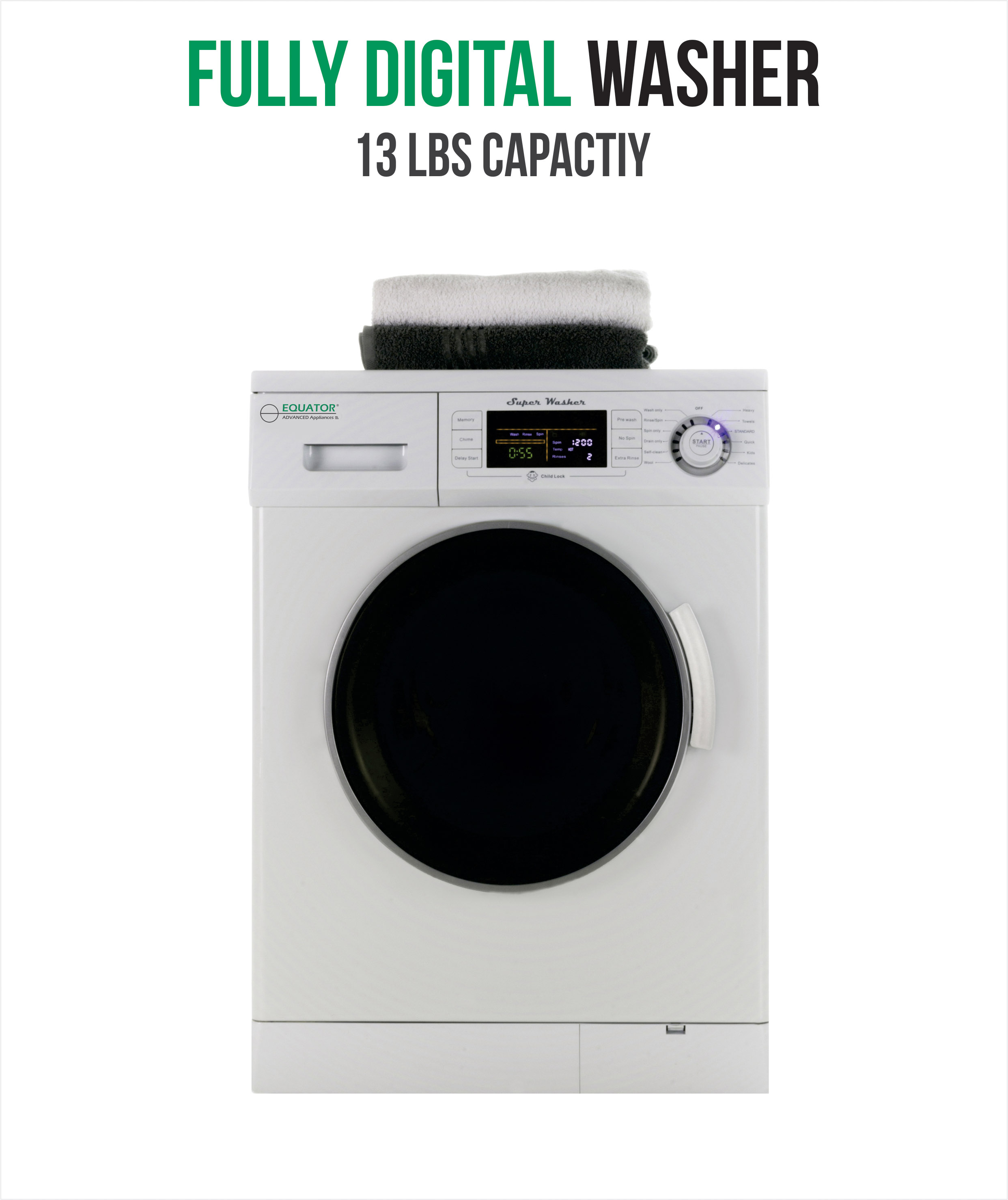 1.6 Cu. Ft. Compact Front Load Washer 1200 RPM with High Efficiency, Automatic Water Level, Delay Start.