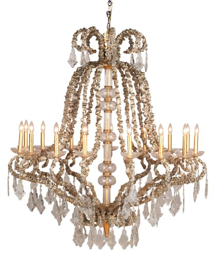 Eurofase Chandeliers Baliza Collection 15-Light 233-1/2 in. Hanging Gold Leaf Chandelier 17446-013