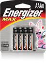 Energizer+ MAX+ AAA Everyday Use Alkaline Battery (4 Per Package)